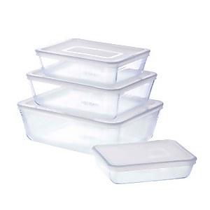 Pyrex Cook & Freeze Rectangular 4 Piece Food Storage Set - White