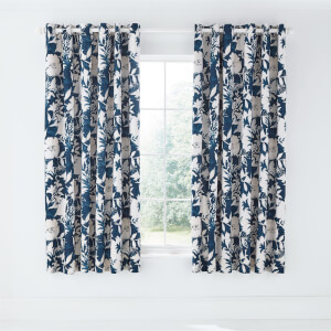 Lilium Lined Curtains 66x72 Indigo