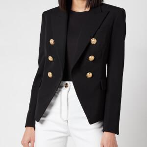 Balmain Women's 6 Button Grain De Poudre Jacket - Noir