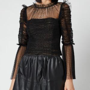 Self Portrait Women's Dot Mesh Angel Sleeved Top - Black
