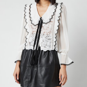 Self Portrait Women's Cord Lace Bow Collar Shirt - White