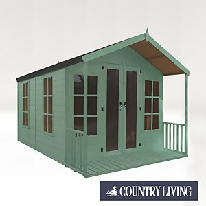 Country Living Tuxford 12 x 8 Premium Traditional Summerhouse Painted + Installation - Aurora Green