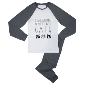 Quarantine Is Better With Cats Women's Pyjama Set - White/Grey