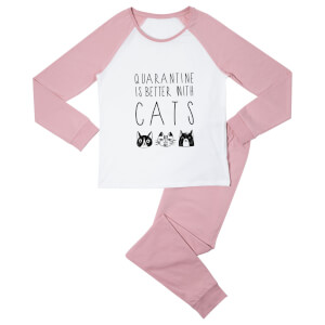 Quarantine Is Better With Cats Women's Pyjama Set - White/Pink