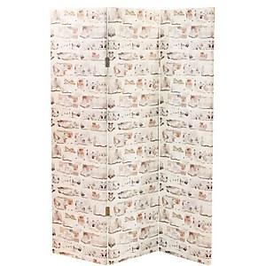 Arthouse Washed Brick Room Divider - White