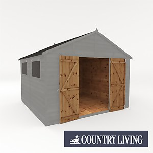Country Living Sibson 10 x 10 Premium Pressure Treated Shiplap T&G Modular Workshop Painted + Installation - Thorpe Towers