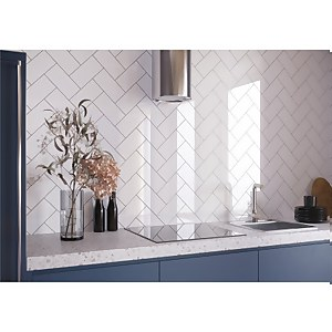 Flat Metro White Gloss Wall Tile - 20 x 10cm - 0.88sqm pack