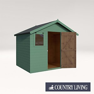 Country Living Weston 6 x 8 Premium Pressure Treated Shiplap T&G Apex Painted + Installation - Aurora Green
