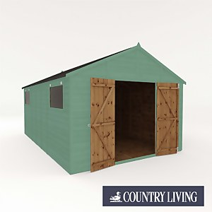 Country Living Sibson 16 x 10 Premium Pressure Treated Shiplap T&G Modular Workshop Painted + Installation - Aurora Green