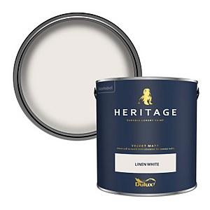 Dulux Heritage Matt Emulsion Paint - Linen White - 2.5L