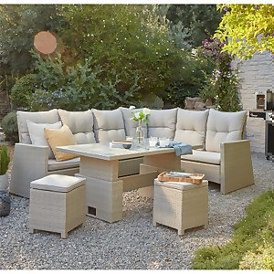 Hartington Rattan Albury Rising Corner Dining Sofa Set in Natural