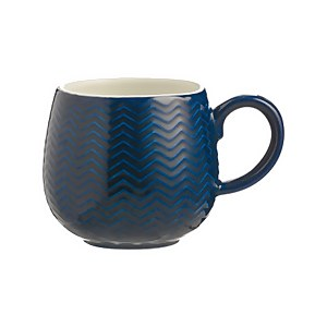 Mason Cash Embossed Chevron Navy Mug
