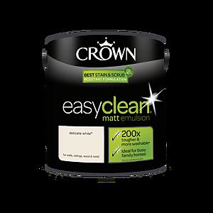 Crown Easyclean 200 Delicate White Matt Paint - 2.5L