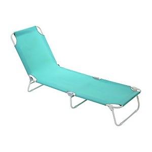Homebase Bahari Folding Sunbed Lounger - Blue