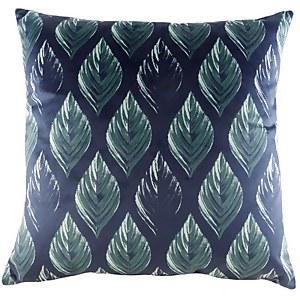 Velvet Leaf Print Cushion - Royal Blue
