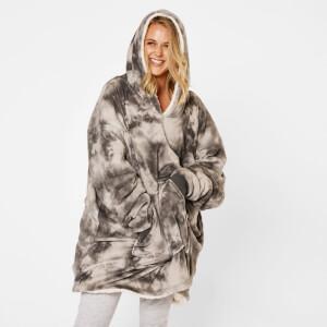 Charcoal Tie Dye Hooded Blanket - Adult