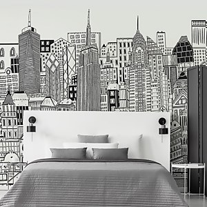 City Sketch Chalk Wall Mural