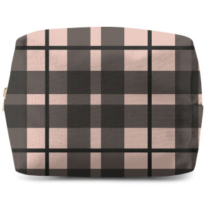 Tartan Black And Pink Makeup Bag