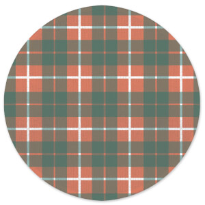 Tartan Orange Round Bath Mat