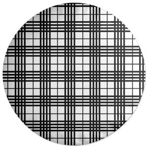 Black And White Tartan Round Cushion