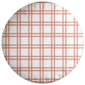 Peach Tartan Round Cushion