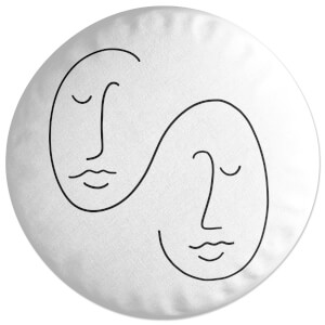 Double Abstract Face Round Cushion