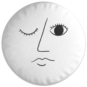 Winking Abstract Face Round Cushion