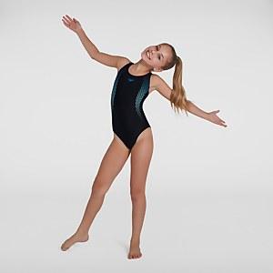 Girl's Plastisol Placement Muscleback Swimsuit Black