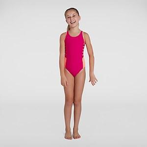 Mädchen Boom Logo Splice Muscleback Badeanzug in Pink