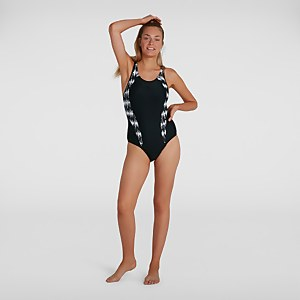 Women's Allover Panel Laneback Swimsuit Black