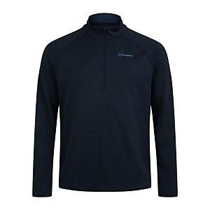 Men's Thermal Tech Tee Long Sleeve Zip Baselayer - Blue