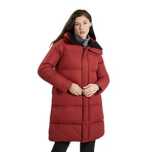 Women's Combust Reflect Long Down Jacket - Red