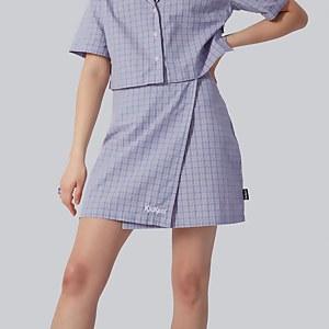 Checked Mini Wrap Skirt