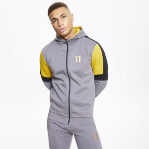 Men's Cut And Sew Colour Block Full Zip Hoodie Charcoal/Black/Gold