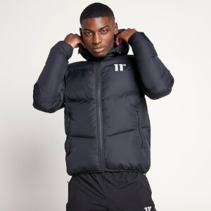 Men's Large Panelled Puffer Jacket - Black