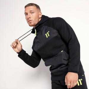 Men's Panelled Quarter Zip Pullover Hoodie - Black/Limeaide