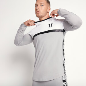 Men's Triple Panel Long Sleeve T-Shirt - White/Silver/Black