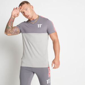 Men's Colour Block Taped T-Shirt - Steel/Silver/Inferno Red