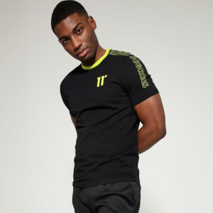 Men's Contrast Print Muscle Fit T-Shirt - Black/Limeaide