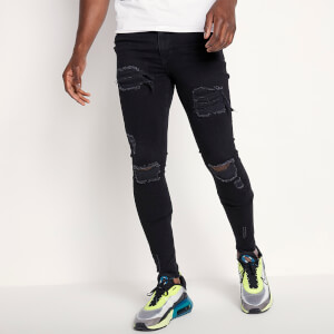 Men's Sustainable Distressed Jeans Skinny Fit - Jet Black Wash