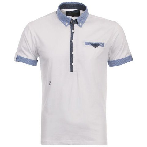 Peter Werth Men's Split Placket Polo Shirt - White