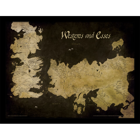 Affiche Encadrée Carte Antique Westeros et Essos Game of Thrones