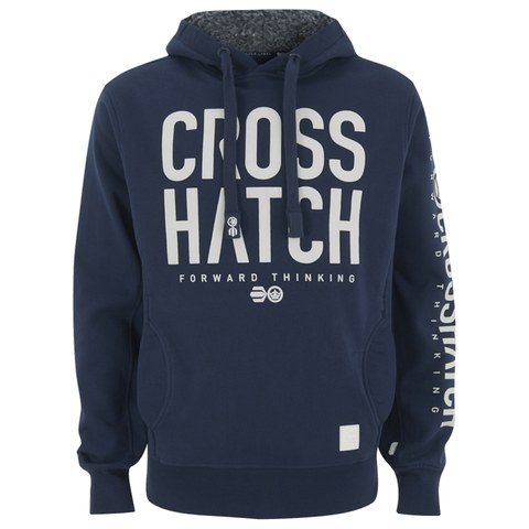 Crosshatch Men's Jackle Bourg Lined Hood Print Hoody - Iris Navy
