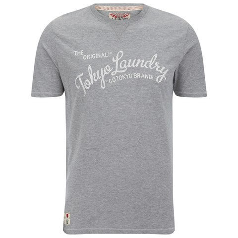 Tokyo Laundry Men's Norman Printed T-Shirt - Mid Grey Marl