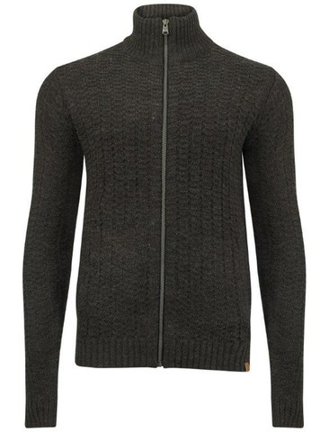 Tokyo Laundry Men's Clancy Zip Through Textured Knit - Charcoal Marl