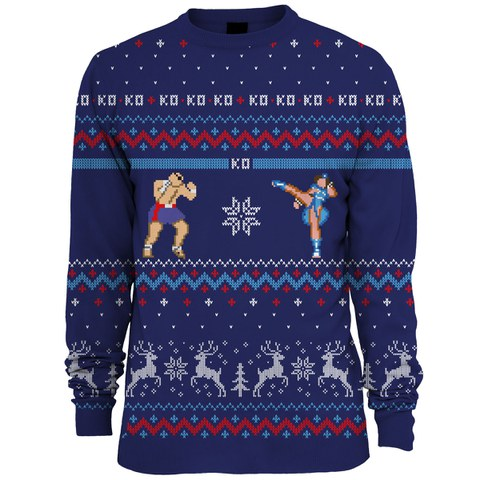 Capcom Street Fighter Sagat Vs. Chun Li Knitted Christmas Jumper - Blue