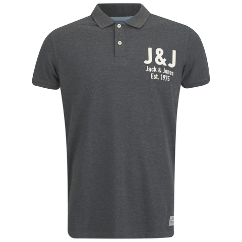 Jack & Jones Men's Moss Polo Shirt - Dark Grey Melange