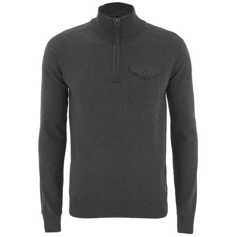 Threadbare Men's Lucca 1/4 Zip Funnel Neck Pocket Jumper - Charcoal