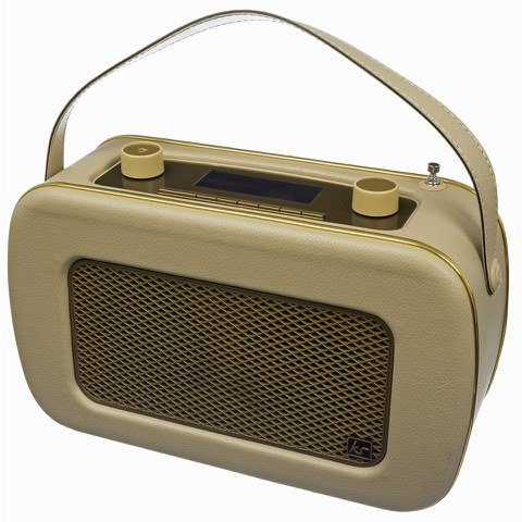Kitsound Jive Retro Portable DAB Radio with Alarm Clock - Cream/Gold