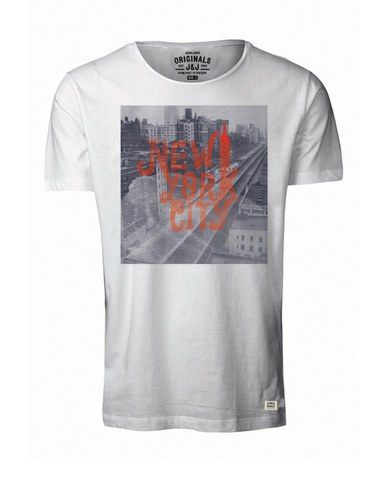 Jack & Jones Men's Light Photographic Print T-Shirt - Cloud Dancer